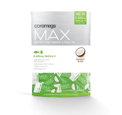 Coromega Max, Super High Omega-3, Coconut Bliss Flavor, 2,400 mg, 60 Squeeze Shots, 2.5g each