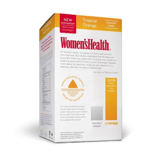 Coromega Women's Health Omega-3 Fish Oil 90 Count, Tropical Orange + D