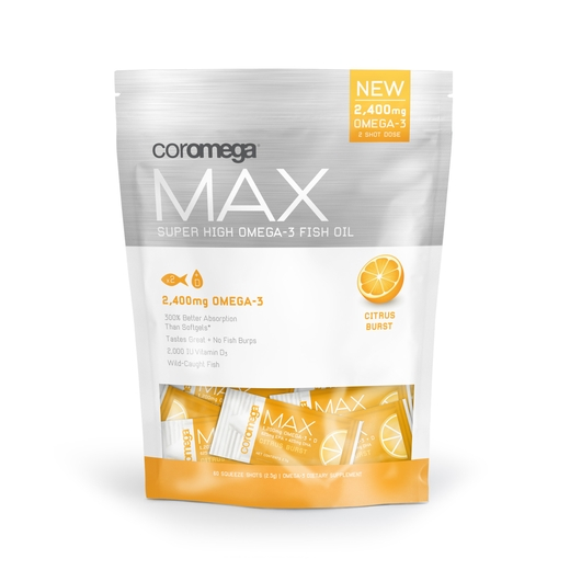 Coromega Max, Super High Omega-3, Citrus Burst Flavor, 2,400 mg, 60 Squeeze Shots, 2.5g each