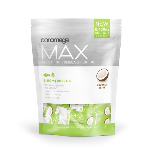Coromega Max, Super High Omega-3, Coconut Bliss Flavor, 2,400 mg, 60 Squeeze Shots, 2.5g each
