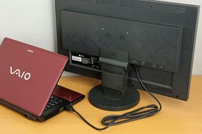 A laptop can be put to more effective use if it is connected to an external LCD. The photograph shows an EIZO 23-inch wide-screen LCD connected by HDMI to a Sony VAIO C laptop (VPCCW28FJ/R).