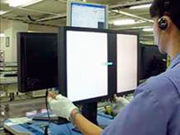Each monitor is individually inspected by the human eye. Although automated testing by a machine is adequate for low grayscale tones, the human eye is still the best tool for judging whether midtones and hues are displayed properly. If the monitor has built-in speakers then the worker checks the audio with earphones and taps the frame with a padded stick to ensure it can withstand light shocks.