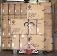 After packaging is complete, the monitors are loaded onto a truck where they will begin their journey to the customer.
