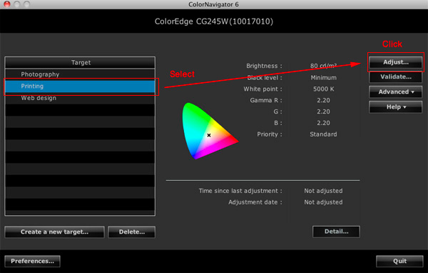 "Preset values* for web contents, photography, and printing are available. Just select one, click ""Adjust"", and ColorNavigator will begin calibrating."
