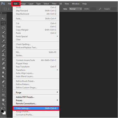 Click on Color Settings under Edit on the menu bar