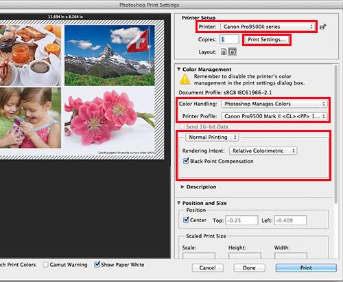 Choose the printer name and click Print Settings