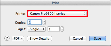 reconfirm your printer and click Show Details if they are hidden
