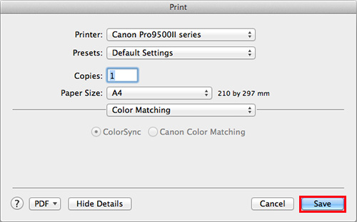 make sure that Color Sync is checked, and click Save.