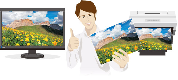 Now you can match the colors of images displayed in image retouching software and printed photos