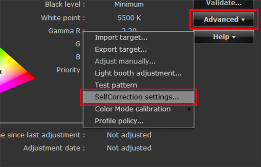 Select SelfCorrection settings from the Advanced drop-down menu
