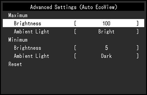 Advanced Settings For Auto Ecoview Auto Brightness
