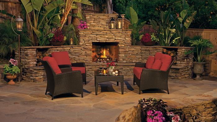 Victory stone gas burning fireplace for Eldorado outdoor fireplace