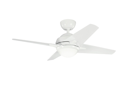 "Rivetta II - 42"" Ceiling Fan - White Finish with Clear Silver / White Blades"