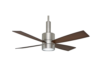 "Bullet - 54"" Ceiling Fan - Brushed Nickel Finish with Reversible Burnt Walnut / Walnut Blades"