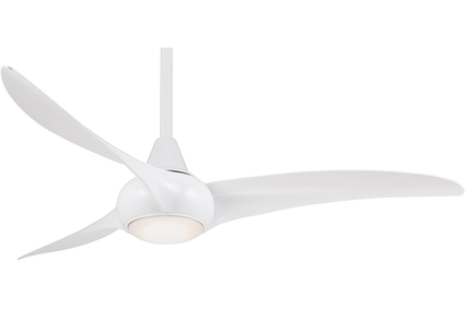 "Light Wave - 52"" 3 Blade Ceiling Fan - White Motor Finish with White Blades"