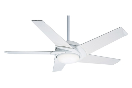 "Stealth DC/LED - 54"" Ceiling Fan - Snow White Finish with Reversible Grey Washed / River Timber Blades"