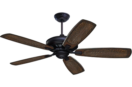 "Carrera Grande Eco - 54"" Ceiling Fan - Oil Rubbed Bronze finish with Rattan Carved Wood Blades"