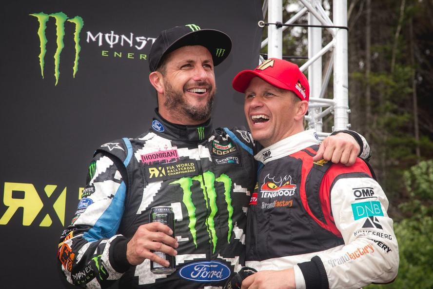 Ken Block and Petter Solberg on podium at FIA World Rallycross Championship 2014 in Hell, Norway