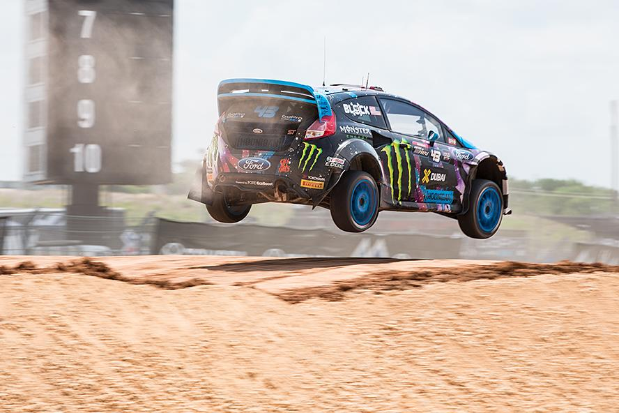 Ken Block takes the the jump during his first heat at X Games 2015.