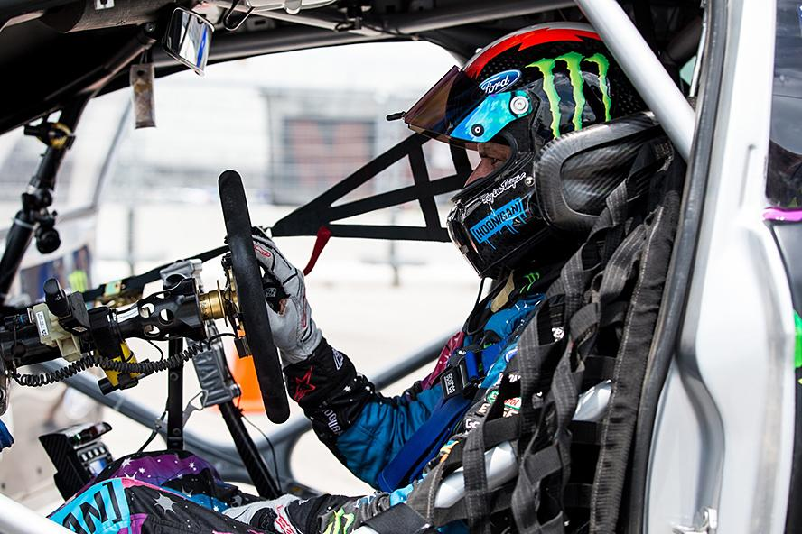 Ken Block prepares to run his Ford Fiesta ST RX43 at X Games Austin 2015.