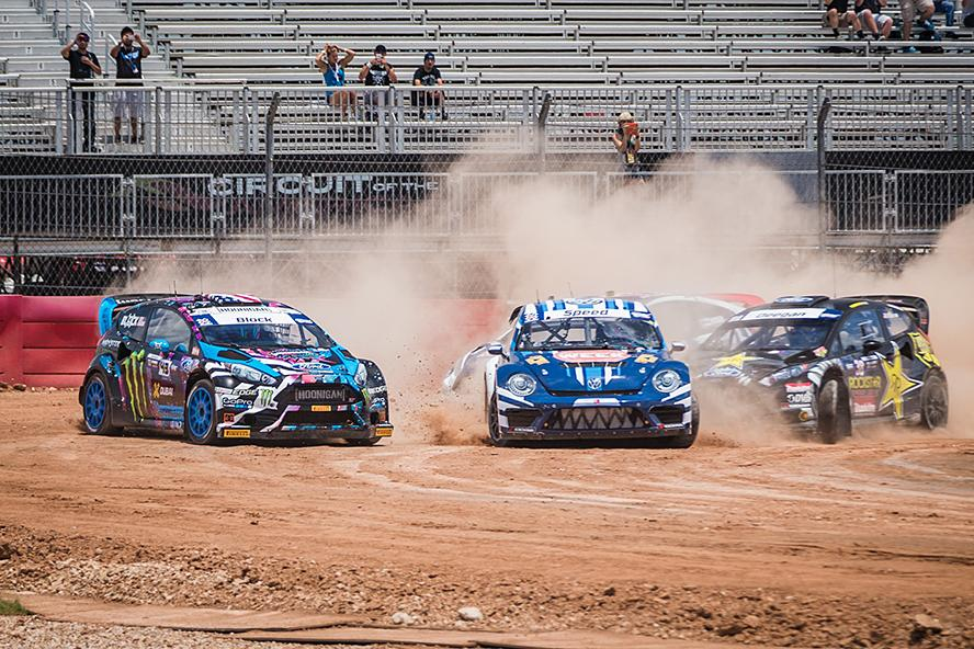 Ken Block experiences a sudden, front drive shaft failure with the checkered flag in view, ending his race at X Games Austin 2015.