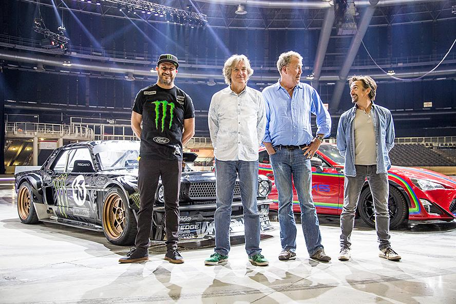 "Ken Block is a featured guest star with former Top Gear hosts Jeremy Clarkson, Richard Hammond and James May at their new live roadshow ""Clarkson, Hammond and May LIVE!"" at the TicketPro Dome in Johannesburg, South Africa, June 2015."