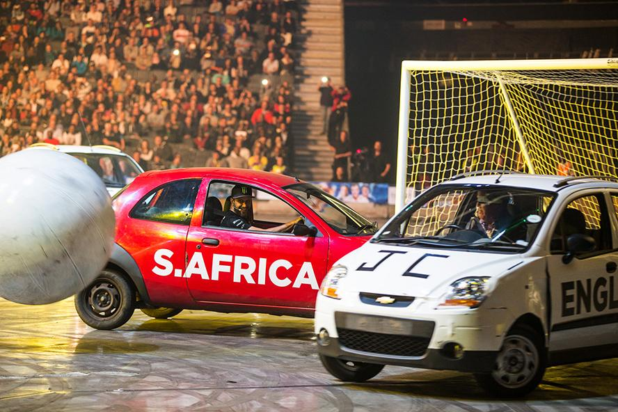 Ken Block plays car soccer at CHM LIVE in a Ford Ka