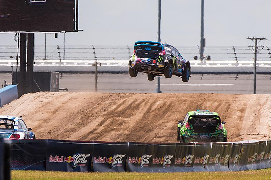 Ken Block mid-air at GRC Round 3 in Daytona, FL