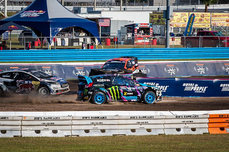 Ken Block in the lead at Global Rallycross in Daytona