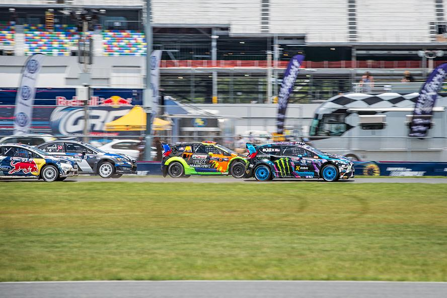 Head Hoonigan Ken Block leads the pack at GRC Daytona