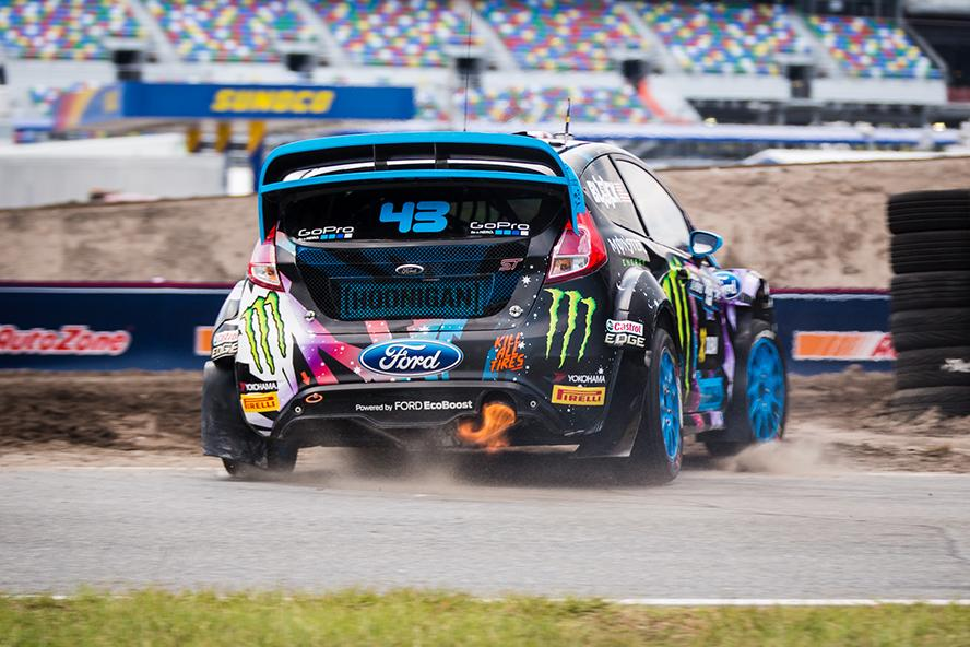 Ken Block's flame thrower, the Ford Fiesta ST RX43