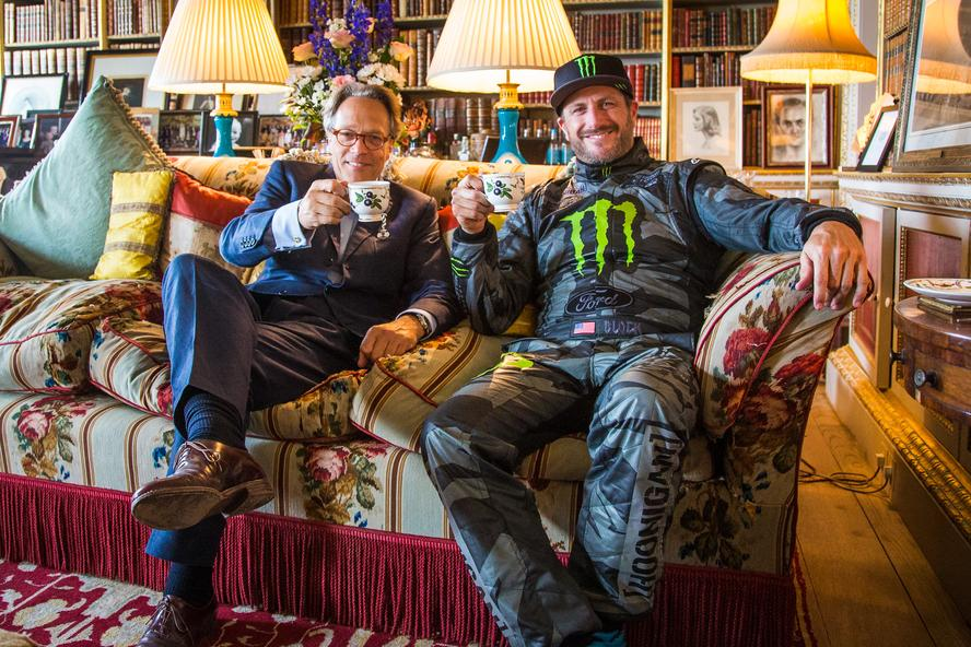 Lord March and Ken Block sit for tea at the Goodwood estate during Goodwood Festival of Speed 2015