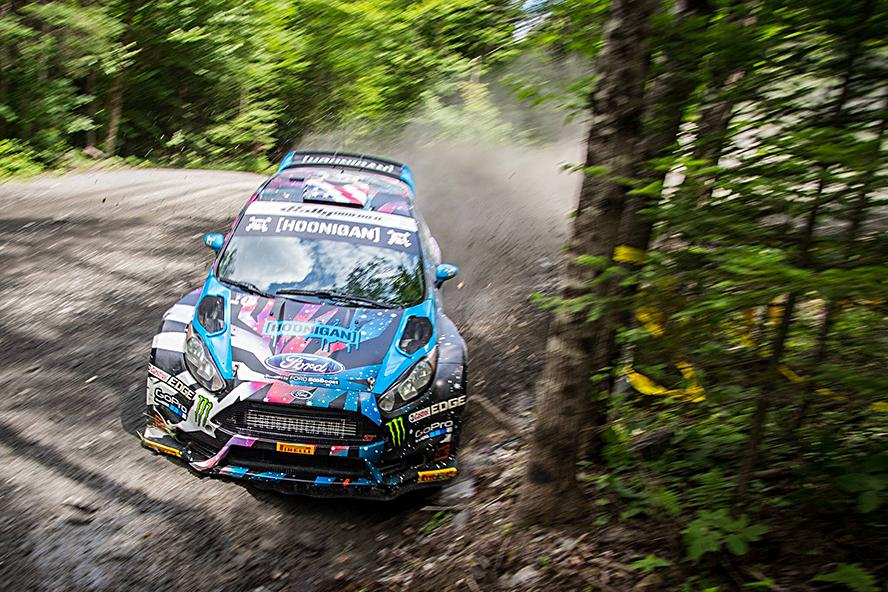 Ken Block and Alex Gelsomino testing Block's HFHV rally car at Team O'Neil Rally School in New Hampshire