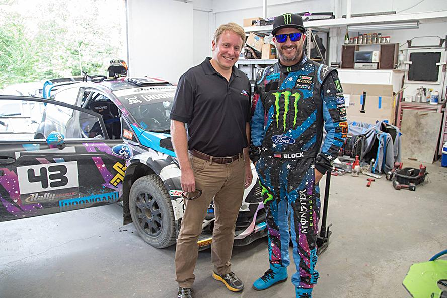 "Ken Block takes Mr. Henry Ford III, aka the great great grandson of Henry Ford - the founder of Ford Motor Company on his first ever ride in a rally car. Henry came out to the Team O'Neil Rally School to get a closer look at what rally is all about. I was more than happy to show him from behind the wheel of my Ford Fiesta HFHV. His direct quote: ""Honestly there are no words to describe what I just felt""."