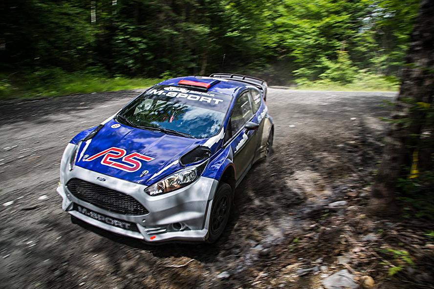 Ken Block takes a few runs in the Ford Fiesta R5 2 liter from M-Sport. Half the cost of a WRC car, and nearly as fun.