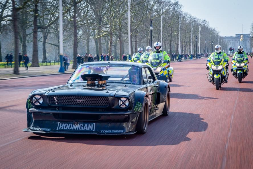 Ken Block headed to London in his 1965 Fird Mustang Hoonicorn to film an incredible segment for the new season of Top Gear with Matt LeBlanc