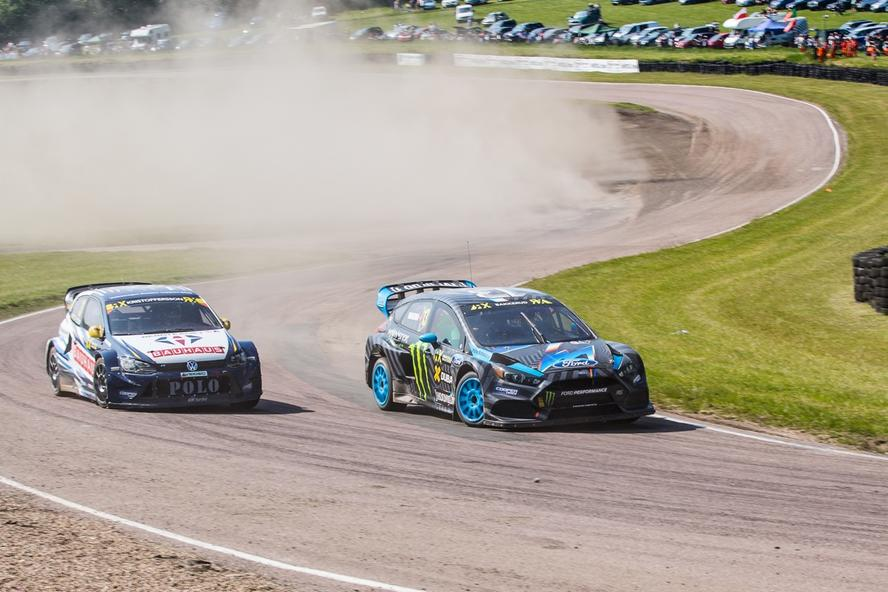Ken Block and Andreas Bakkerud during day 1 of the 4th round of the 2016 World Rallycross Championship at Lydden Hill in the UK