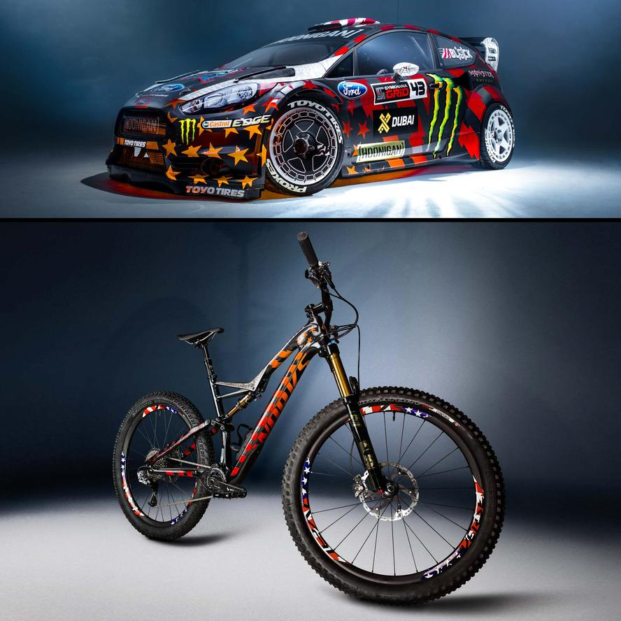Fresh for Summer '16, Ken Block just received a very fun new toy for tearing up his local trails in the summer: an S-Works Stumpjumper FSR 6Fattie, complete with a custom one-off ultra reflective paint job that's an homage to the livery he ran on his Ford Fiesta ST RX43 in the most recent Gymkhana video, Gymkhana EIGHT.