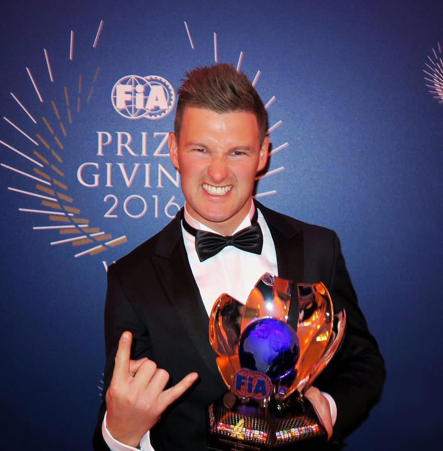 Hoonigan Racing Division's Andreas Bakkerud was honored last weekend in Vienna, Switzerland, during the 2016 FIA Awards Ceremony dinner. Bakkerud finished third overall in the 2016 World Rallycross Championship, securing the placement by winning the final round of the race calendar only a weekend earlier in Rosario, Argentina.