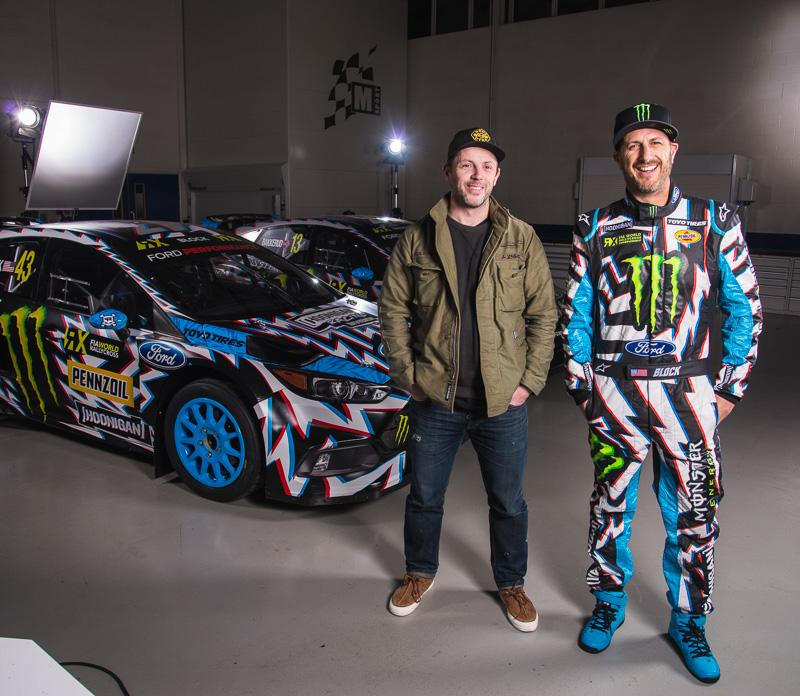 With the World RX race season opener this coming weekend in Barcelona, Spain, Hoonigan Racing debuts its newest liveries for the team of Ken Block and Andreas Bakkerud and their Ford Performance Focus RS RX rallycross cars, designed in collaboration with U.K. artist David Gwyther—who is better known as Death Spray Custom and known for his multi-disciplined art work—Block and Bakkerud's new liveries harness the look of intense energy (via bolts) while combining a 3D element to the pattern.