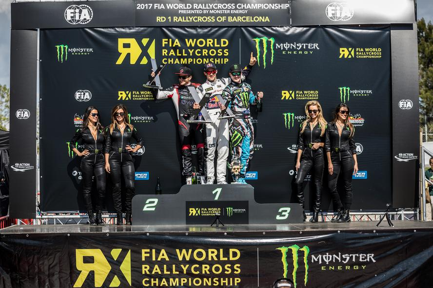 Bakkerud takes third in Barcelona at 2017 World RX Round 1.