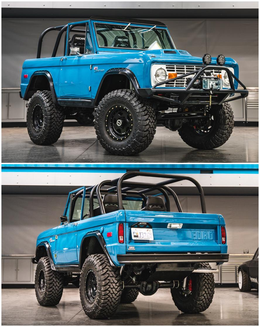 """While a 13th wedding anniversary may not be officially """"the fully restored and modified 1974 Ford Bronco"""" anniversary, it is in the Block household.  A year-long project build that was handled by NSB Performance in Edgewater, Florida, Block's wife's Bronco is't your normal 1974 model. Fully frame-off restored, the truck features a slew of upgrades. Ford Performance supplied a 5.0l Coyote crate V8 as well as transmission, National Parts Depot supplied a lot of replacement panels, and Toyo Tires and fifteen52 supplied the tire/wheel combo for this rig."""