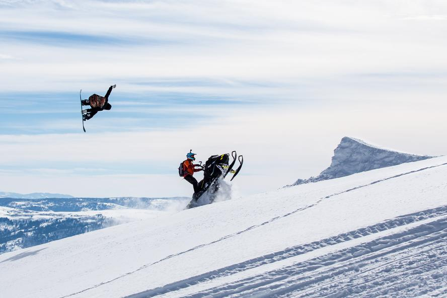 Last winter, Ski-Doo sent the HHIC, Ken Block a few Ski-Doo Freestyles and Summits to use and rip around the mountains of Utah. So, Block invited professional Ski-Doo ambassadors Carl Kuster and Ashley Chaffin out to join him and show him just how hard you can push a sled. And, since Block in-part comes from the snowboarding world, he also made sure to invite a few pals that can snowboard as well: Olympic Gold Medalist Sage Kotesnburg and last season's Rider of the Year, Bode Merrill.