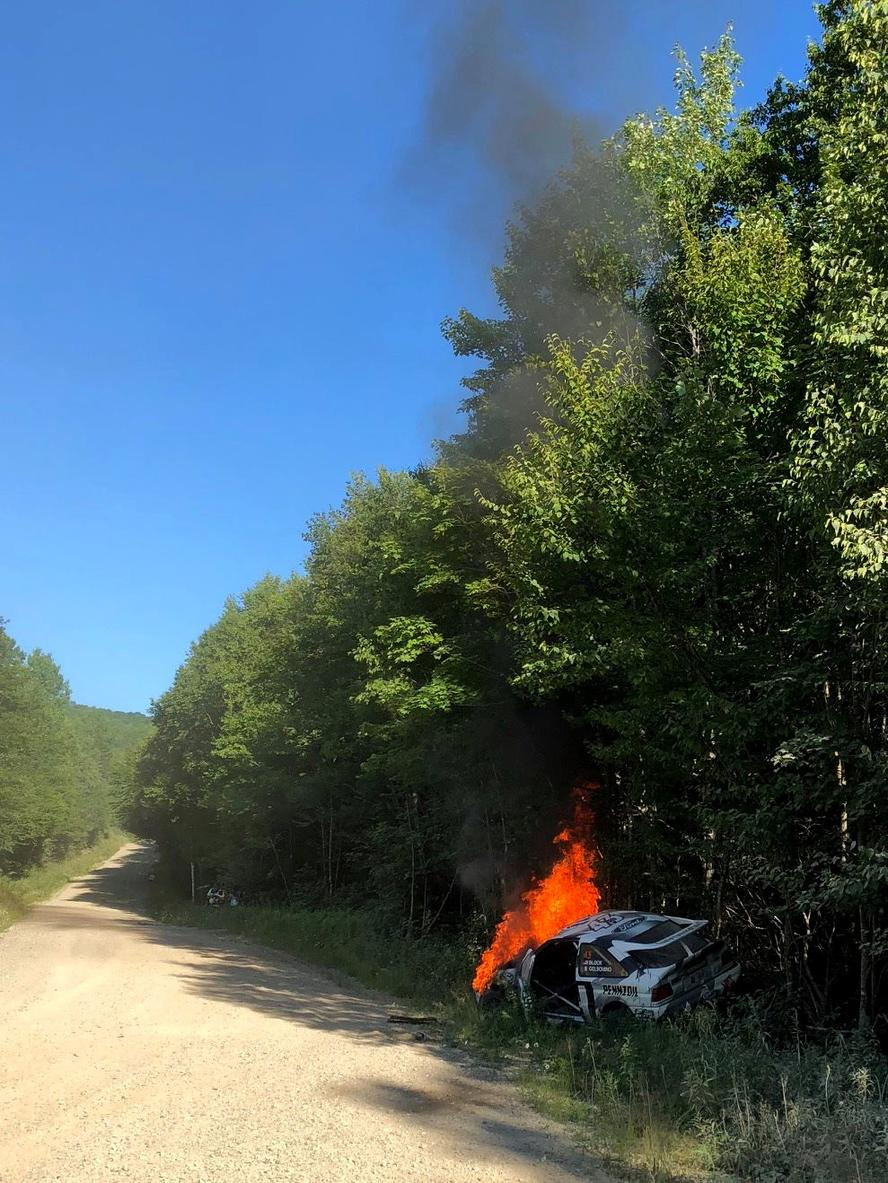 This year's New England Forest Rally came to an abrupt end for Hoonigan Racing Division's Ken Block and Alex Gelsomino when a mechanical issue lead to a roll and ignited a fire that engulfed the 25 year old, Ford Escort RS Cossie Group A/WRC car. The duo escaped the wreck unharmed but despite their efforts to extinguish the fire, the car was destroyed. RIP, Cossie.
