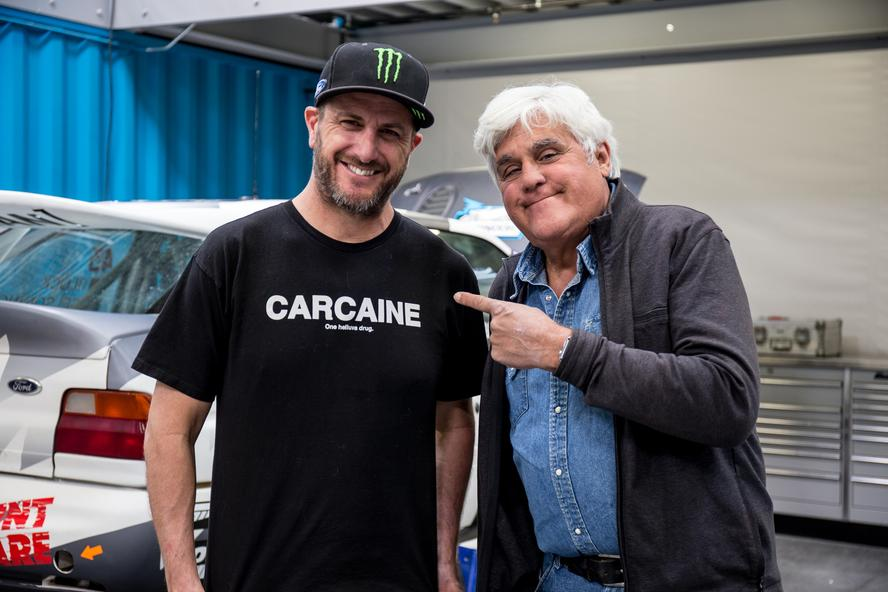 Recently, world-famous late-night host/car enthusiast, Jay Leno, swung by Ken Block's Hoonigan Racing Division Headquarters in Park City, UT, to talk about one of Block's favorite subjects: the Ford RS200 Group B car! The visit was a part of Leno's Jay Leno's Garage show on CNBC.