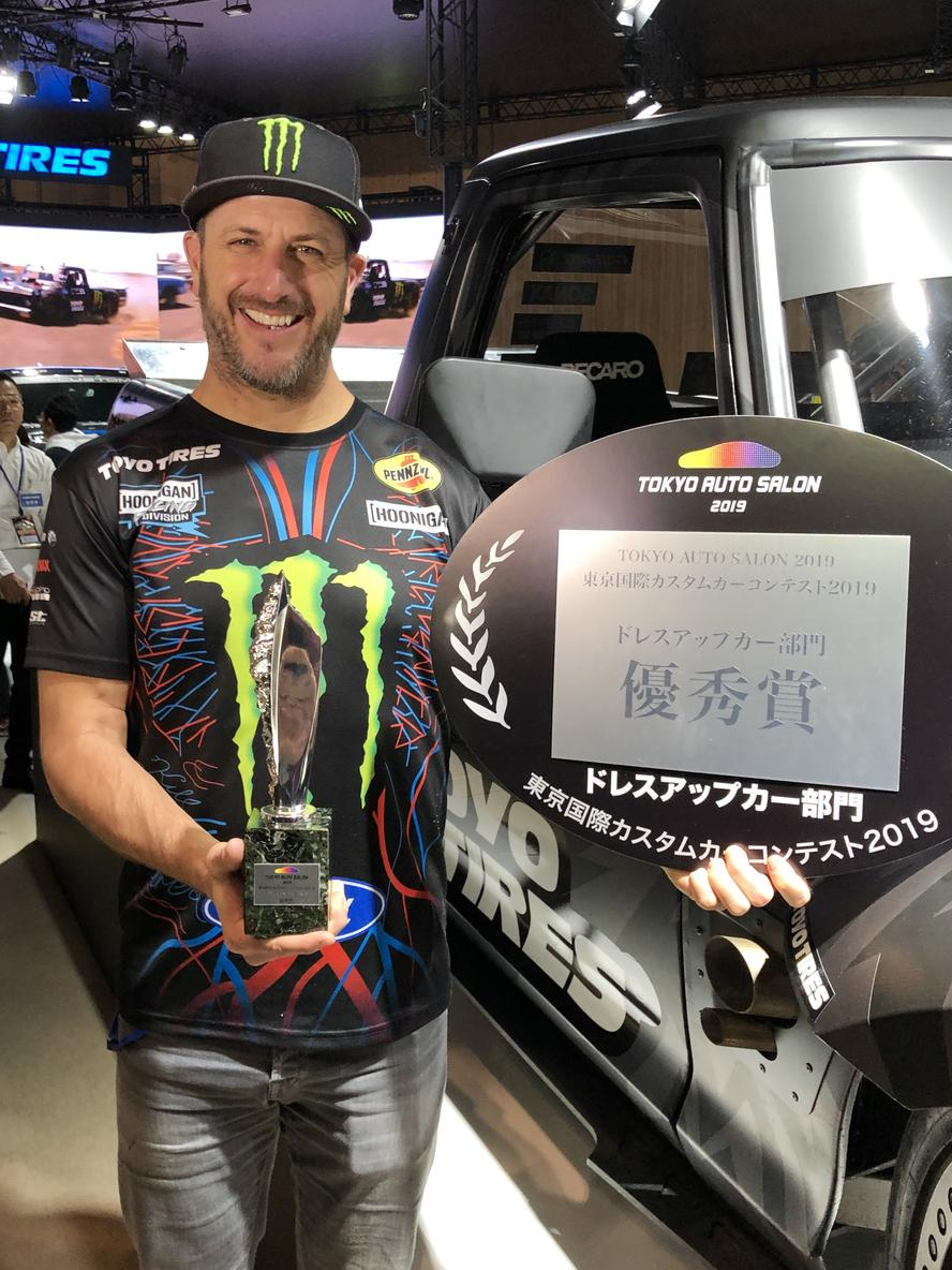 "Kicking off his 2019 year with Toyo Tires at the Tokyo Auto Salon, Ken Block ventured over to Japan in January with his 1977 Ford F-150 Hoonitruck to do three days of appearances, autographs and media interviews—while the Hoonitruck sat on display for the thousands of Japanese fans to drool over. The truck was originally built as an all-new build for Block's latest Gymkhana video, Gymkhana TEN, with parts of the build being featured in Block's documentary series ""The Gymkhana Files,"" which was about the making of Gymkhana TEN."