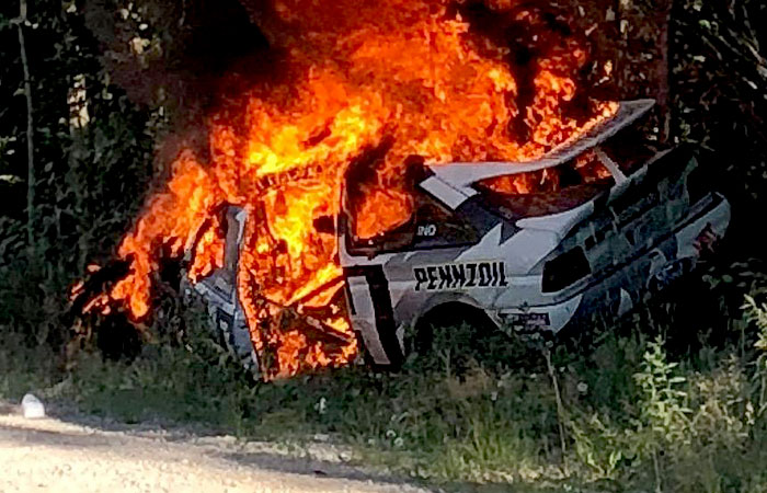 COSSIE FIRE AND DESTRUCTION AT NEW ENGLAND FOREST RALLY
