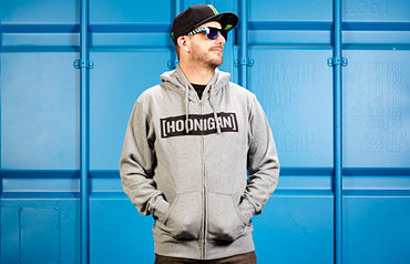 Ken Block Wearing the All-New Charcoal Hoonigan Censor Bar Hoodie Available at Hoonigan.com