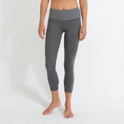 GREY CHARCOAL STRIPE LEGGING - CAPRI