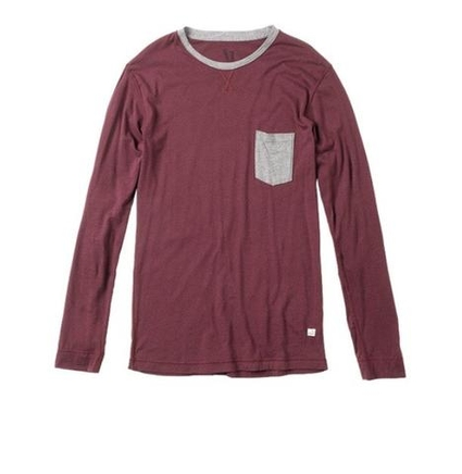 ELEVATED L/S TEE BURGUNDY